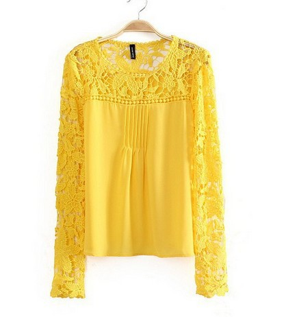 Yellow And Blue Plus Size Blouses 87