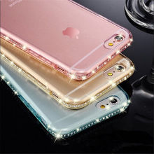2016 new Luxury Ultra Thin Crystal Diamond Soft Back Case Cover For Apple iPhone 5 5s SE 6 s 6s Plus 7 7plus Mobile Accessories(China (Mainland))
