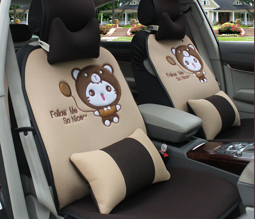 12pcs new Ice silk cartoon car seat cover cushion surrounded Hold pillow headrest steering wheel covers car covers(China (Mainland))