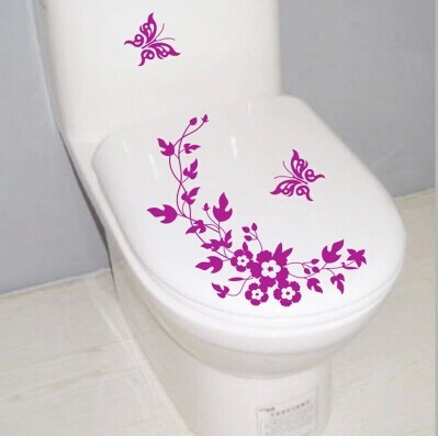 free shipping Butterfly Flower bathroom wall stickers home deocr home decoration wall decals for toilet decorative sticker(China (Mainland))