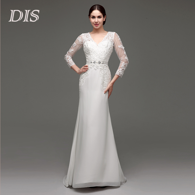 New Fashionable 2015 In Stock Elegant Modest Chiffon Lace Bridal Gown Long Sleeve Mermaid