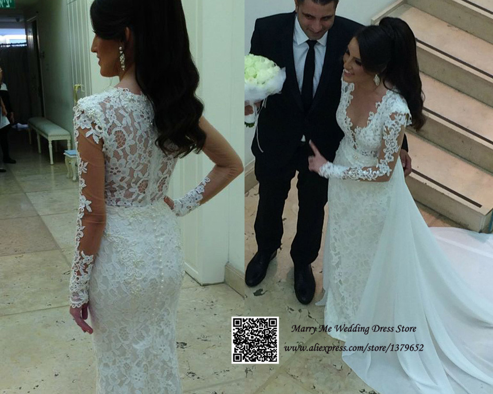 Exquisite White V-Neck Long Sleeve Detachable Wedding Dress Lace Mermaid Bridal Gown Court Train 2015(China (Mainland))
