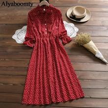 מורי ילדה אביב סתיו נשים ארוך שמלת קשת צווארון פרחוני הדפסת פיצול אלגנטי שמלת קוריאני שיפון אדום שחור לבן Midi שמלות(China)