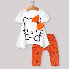 2016  Children's Sets Cartoon hello kitty Girls Sets Short sleeve + shorts suit children suit children's clothes sales(China (Mainland))