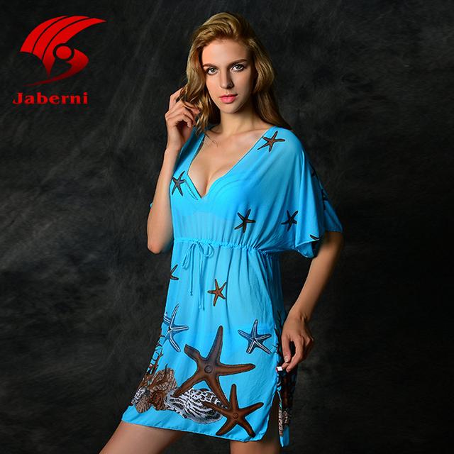 Картины звезды дамы сексуальные шифоновые сокрытия широкий печать пляжной женские бренд прозрачный длинные Vestidos женщины свободного покроя купальник