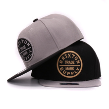 New grey  black flat bill hiphop hats 3D round embroidery adult adjustable snapback caps for men and women(China (Mainland))