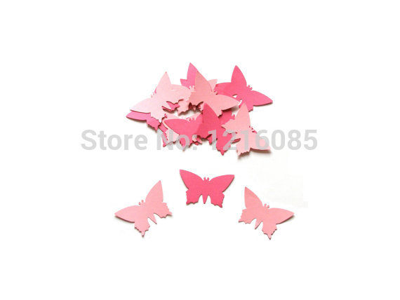 cheap Paper butterfly confetti Butterfly party decors Pink butterfly Large die cuts decoration Table decor scrapbook Confettis(China (Mainland))