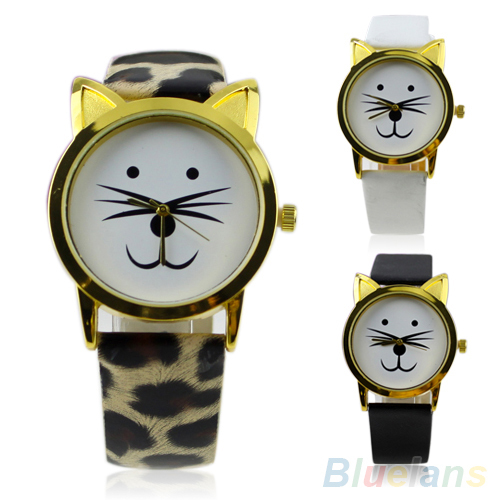 Lovely Cute Cat Face Shape Girls Dial Gold Color Rim Beard Alloy Faux Leather Strap Watch Women Gift 1OF1 - BlueSky- store