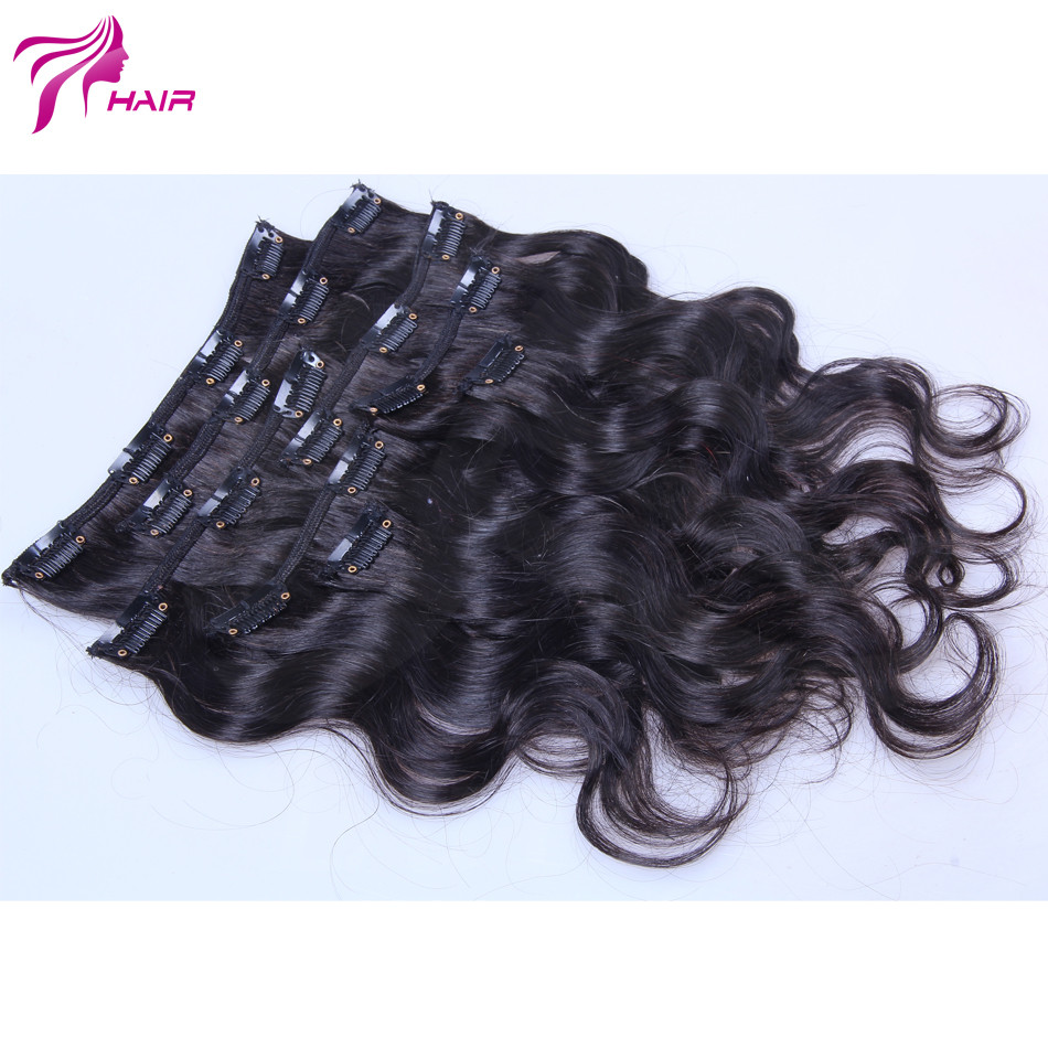 Malaysian Virgin Hair Body Wavy Clip In Human Hair Extensions Body Wave Clip In Hair Extension 8-26 Inch Human Hair Weave