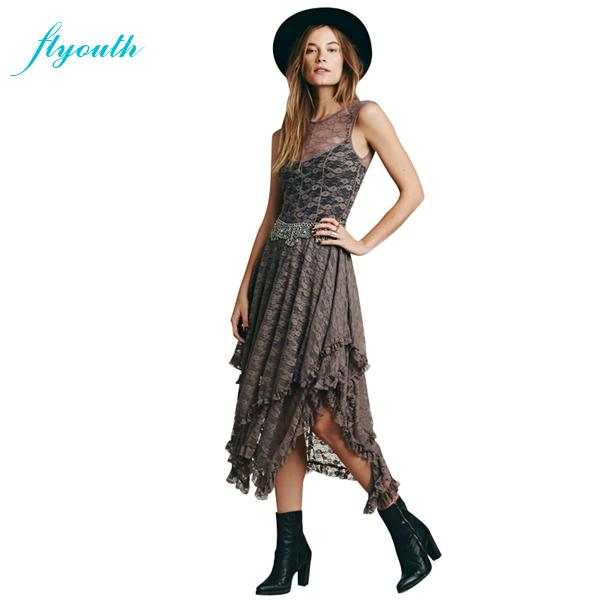 Flyouth Party Dresses Fashion New 2015 Summer Style Asymmetrical Solid Women Dress Mesh Lace