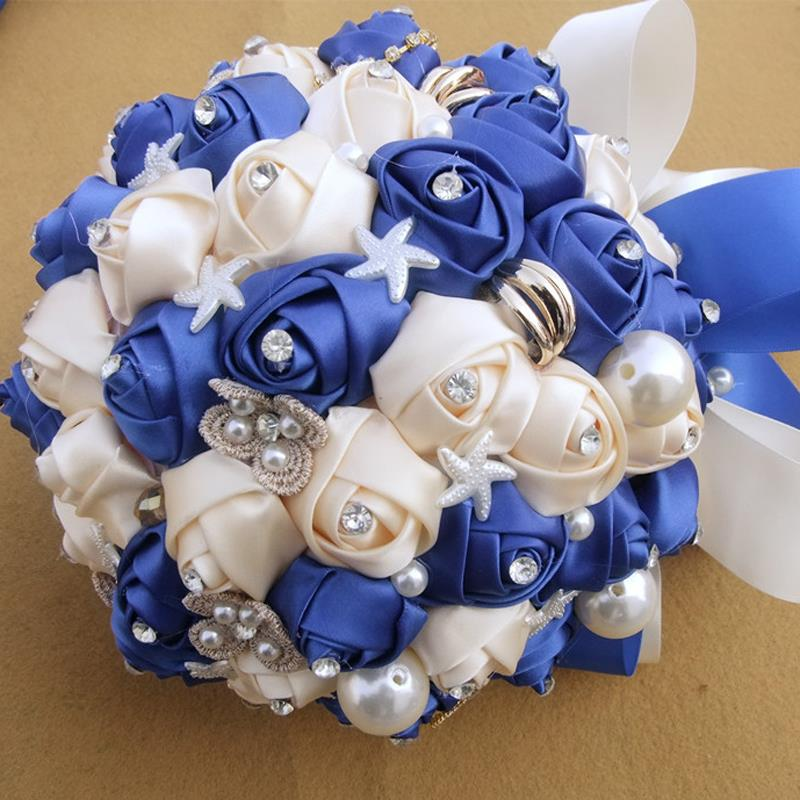 Diy Silks /satins flowers Vivid turquoise and off-white Pearl decor Bridal wedding bouquet Size 15cm Opp bags wedding photos