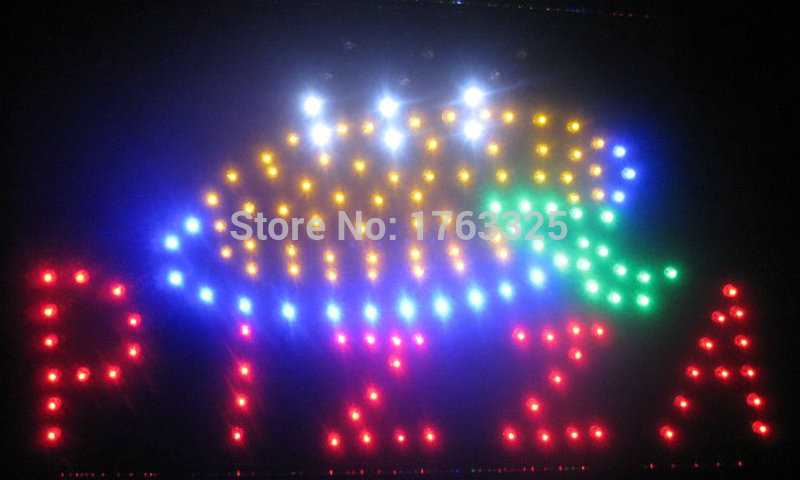 Free Shipping Animated Motion LED Pizza SIGN On/Off Switch Open Light Neon(China (Mainland))
