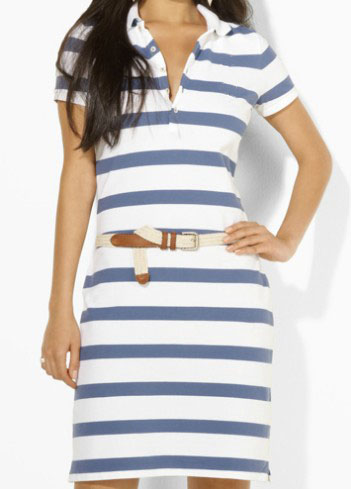 2015 Summer Slim Fit Womenu0026#39;s Long Polo Dress Ladies Casual Striped Dress Wholesale Classic Dress ...