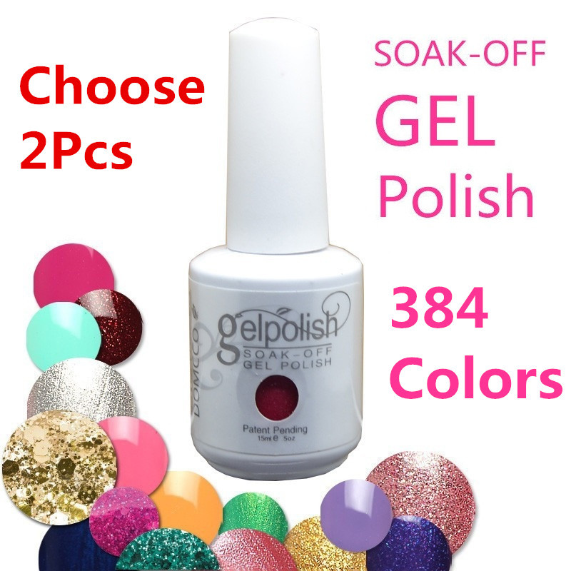 (Choose 2 Colors) 384 Colors Soak-OFF Sequins UV Color Gel Nail Polish (15ml,Assorted - WOVJ Beauty Shop store