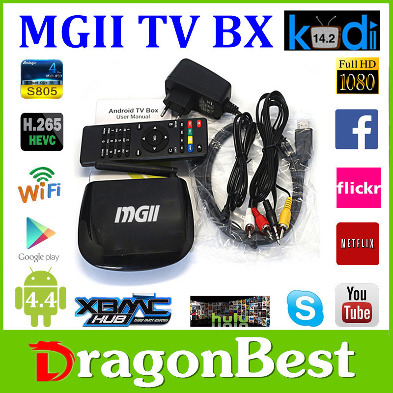 2pcs FREESHIPS805 MGII 1G/8G Android 4.4 TV Box Player Smart Multimedia Player with Bluetooth Quad Core<br><br>Aliexpress