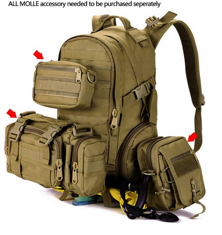 35L Waterproof Nylon Laptop Backpack 15.6 Sacheted 3P Tactical Military Molle Backpack Professional Camping Hunting Trekking Bag(China (Mainland))