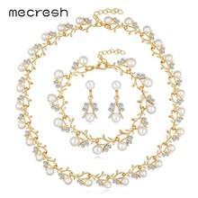 Mecresh סימולציה פרל כלה חתונת תכשיטי סט נשים כסף/זהב חמוד קטן סניף שרשרת Drop עגילי צמיד סט TL578(China)