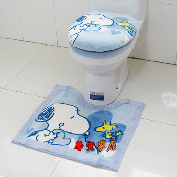 Toilet SNOOPY three piece set zuopianqi ring slip-resistant mats toilet cover set