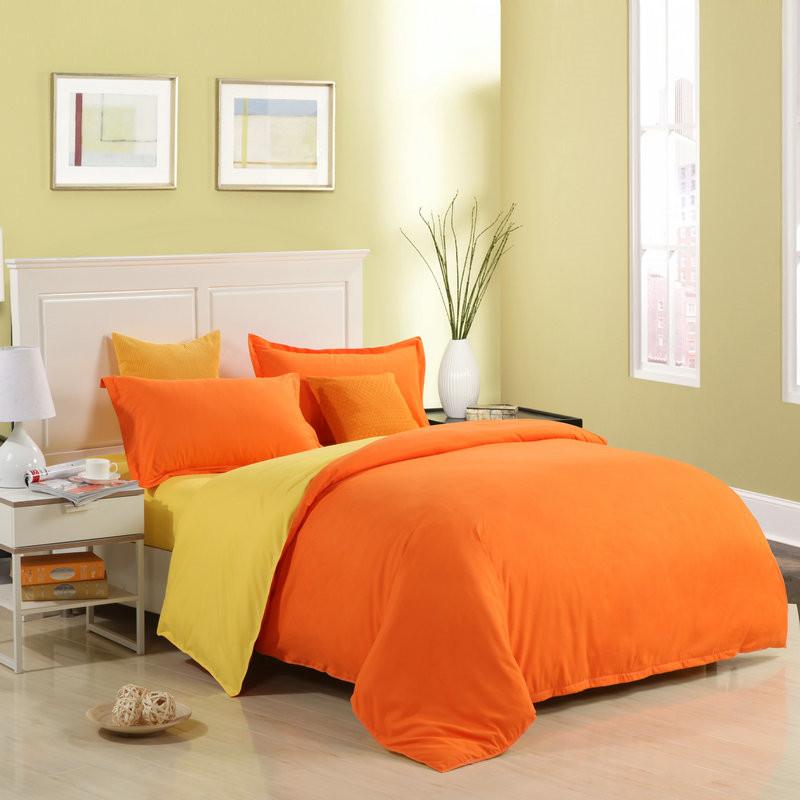 Orange bedding sets promotion shop for promotional orange for Minimalist bed sheets