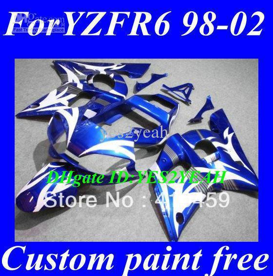 Free shipping fairing for YAMAHA YZFR6 1998 1999 2000 2001 2002 YZF R6 YZF-R6 YZF600 98 99 00 01 02 blue white fairings kit+7 gi(China (Mainland))