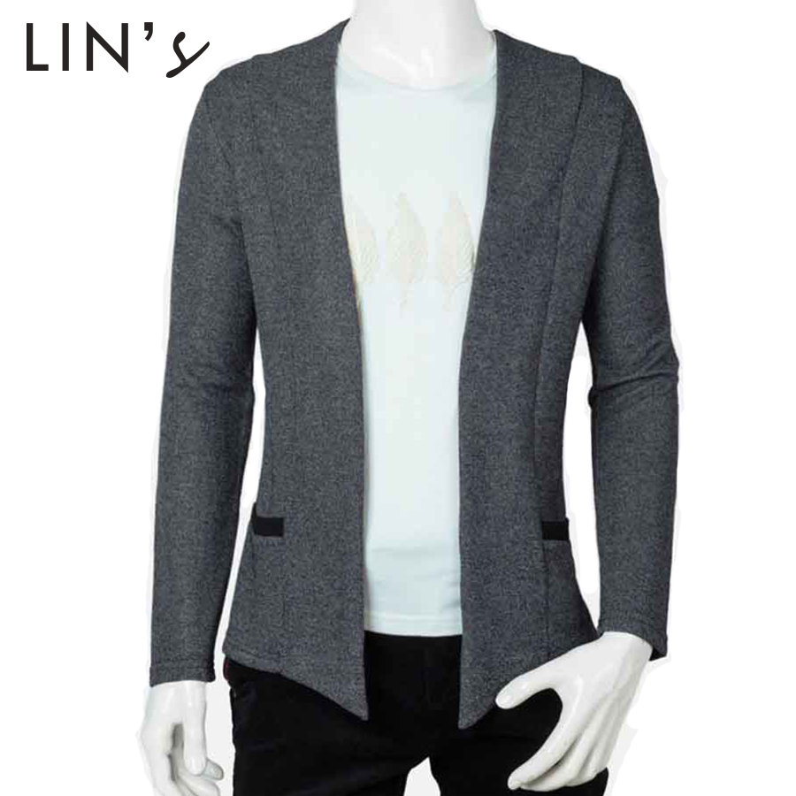 New Designer Casual Men Blazers Without Button 2015 Autumn Fashion Solid Slim Fit Cardigan Coat ...