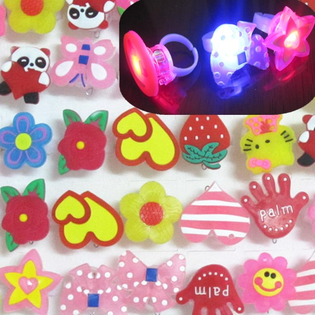 50pcs/lot Colorful changing light finger ring child cartoon flashing ring toy for gift,light up luminous toys with battery(China (Mainland))