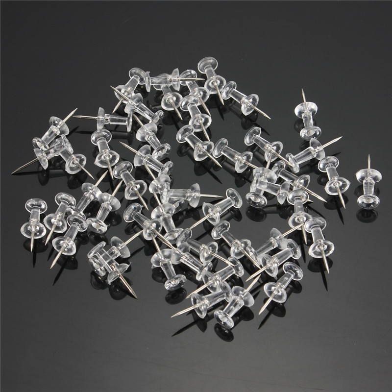 50pcs/lot Plastic Transparent Decorative Push Pins Thumbtacks Steel Point Bulletin Board Office School Stationery Supplies(China (Mainland))