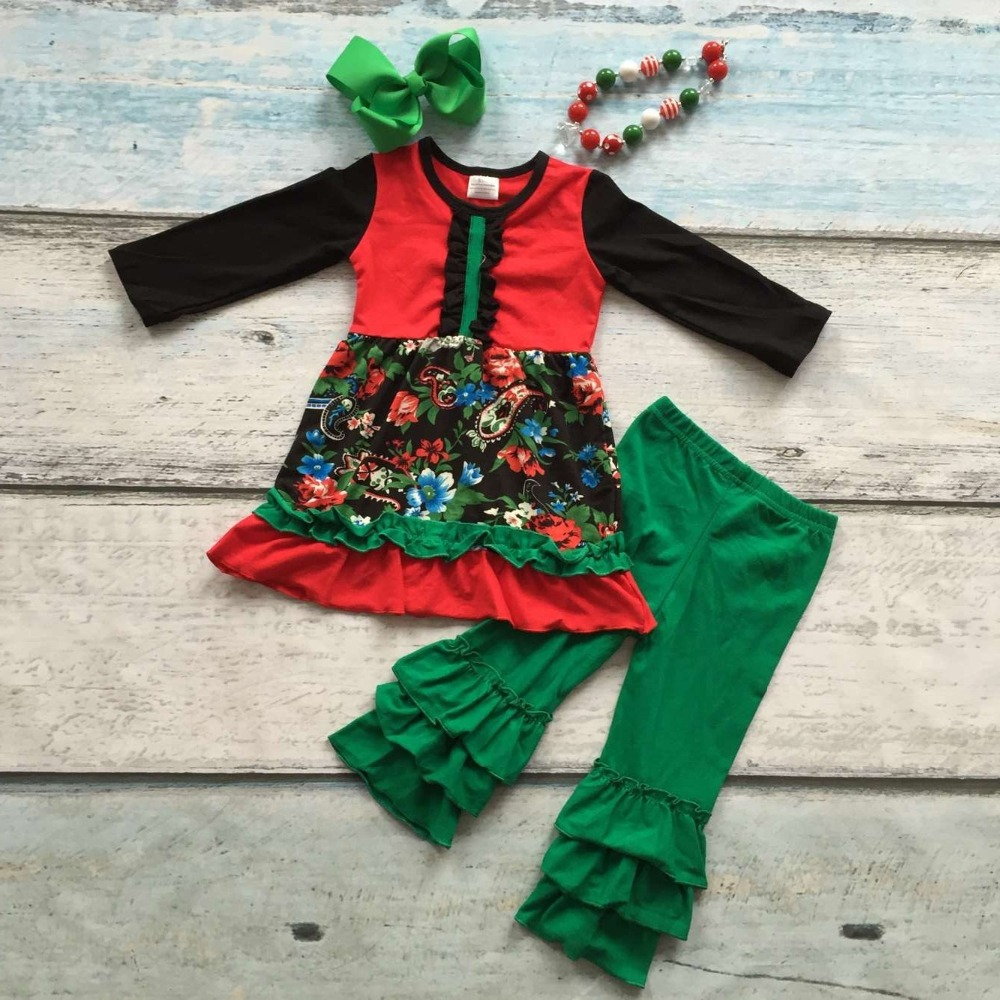 Christmas dress boutiques - Girls Christmas Clothing Baby Girls Floral Outfits Children Boutiques Clothes Girls Santa Green Ruffle Pants With Accessories