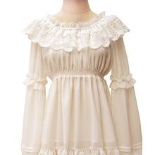 Buy One size 2016 Autumn Full sleeve Chiffon Agaric Lace Collar Shirts Ruffles Hem Women Elegant Princess Vintage Lady Lolita Blouse for $23.22 in AliExpress store