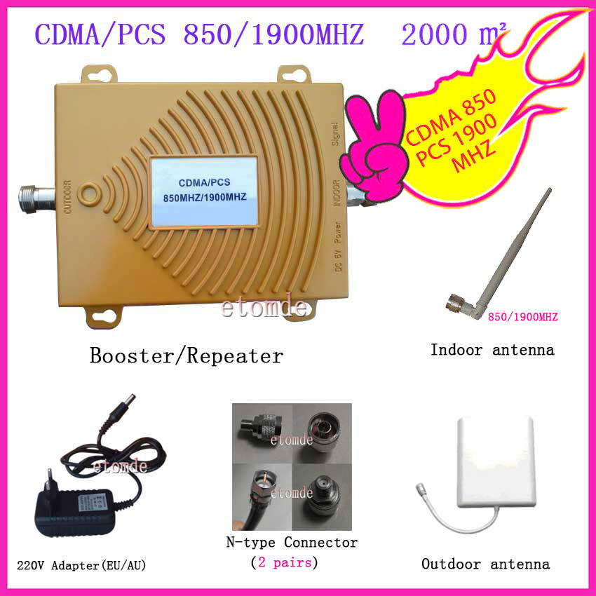Dual Band Signal Amplifier CDMA Booster 850MHZ PCS1900MHZ Booster with Antenna Connector RF Repeater Kit for Mobile Phone Signal(China (Mainland))