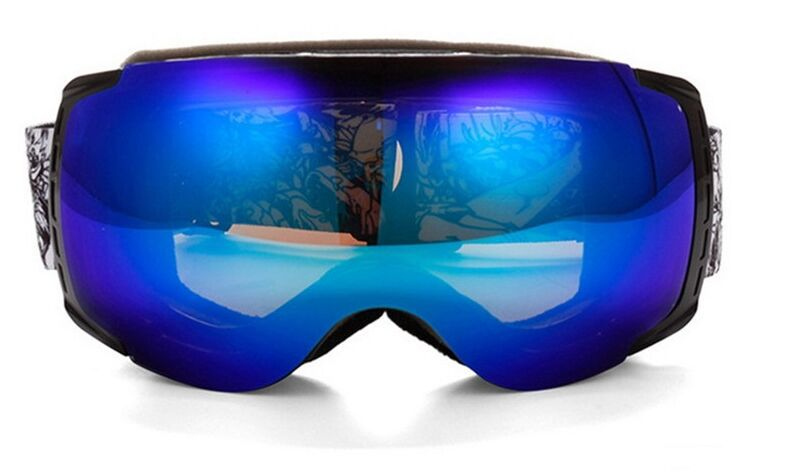 snowboard goggles isgh  black frame Winter Mens Adults Anti-Fog High-End Blue Mirrored Dual Lens  Snowboard