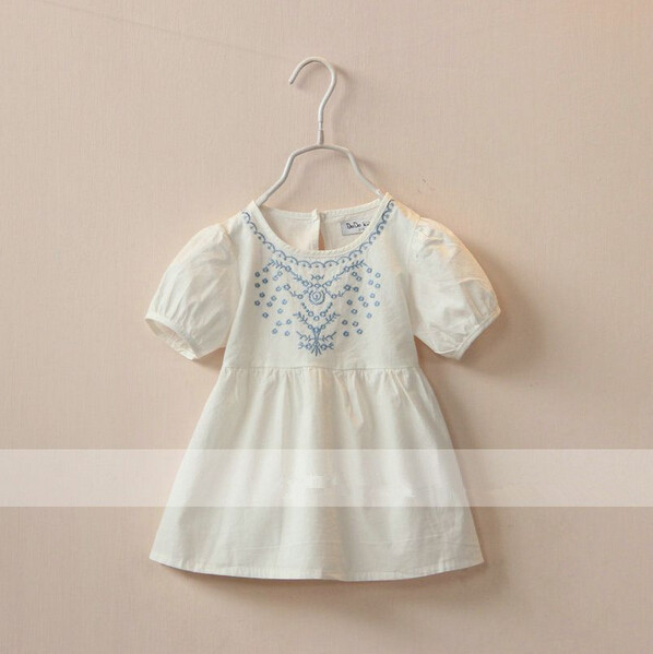 30499436 Wholesale New 2015 Summer Girls Dresses Denim Solid Embroidery Flowers Girls Dress Casual O-Neck Childrens Clothes Lot<br><br>Aliexpress
