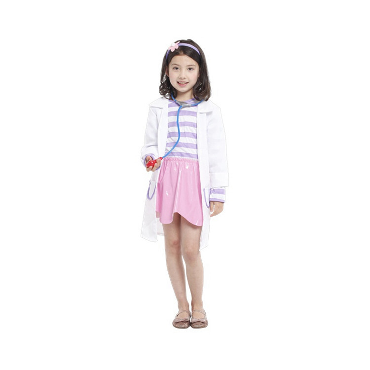 Small Toy Doctor Girls 5T-12T Children Clothing Set Kids Clothes Polyester Baby Girl Clothes Childrens Lover Sets Best Gift(China (Mainland))