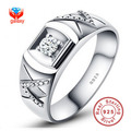 Have Silver Certificate Solid 925 Sterling Silver Ring Couple Silver Jewelry CZ Diamond Wedding Rings For