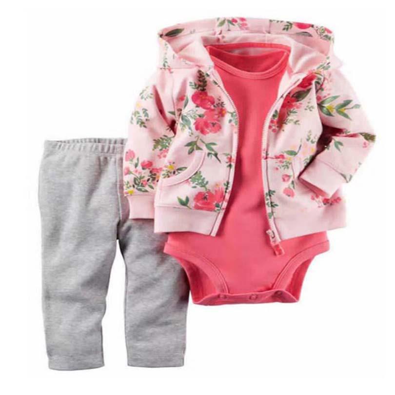 2017 Hot sale baby clothing 3 pieces coat+bodysuit+pant set baby boy girls Fleece suit bebes meninos spring autumn kids clothes(China (Mainland))