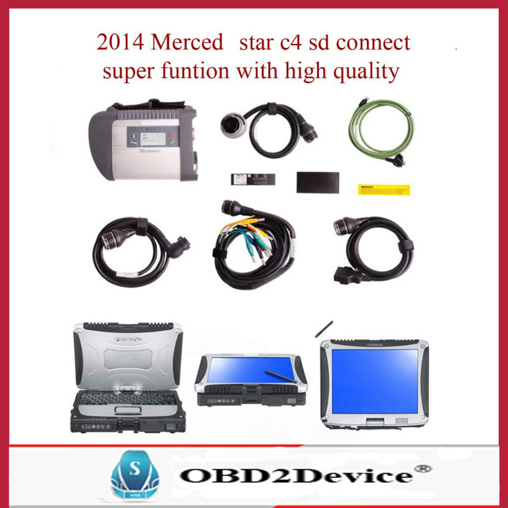2015 whloesale mb star c4 with Panasonic tough book cf-19 mb star c4 sd connect 2015-05 version mb star c4 multiplexer(China (Mainland))