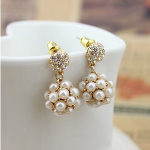 2015 New Fashion Brand Designed Charm Statement Ball Earrings Accessories Jewelry For Women Sparkling Sphere Pearl Earrings E425(China (Mainland))