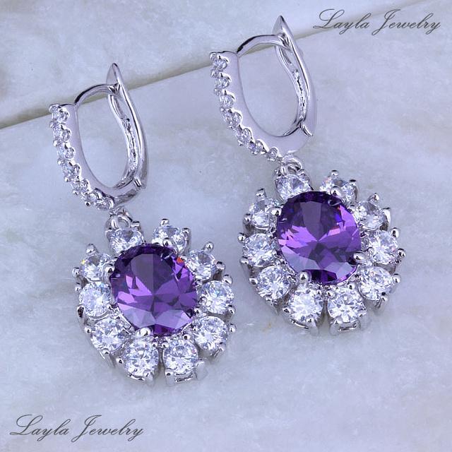 Модный серебро / 18 K позолота серьги, Сияющий фиолетовый аметист белый CZ алмаз серьги-капельки J0158