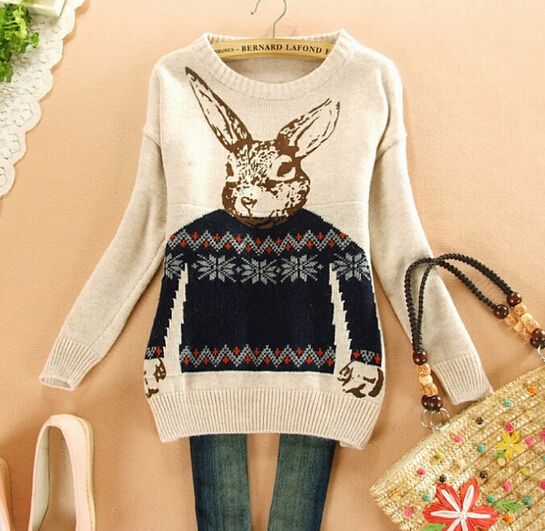 2014 winter Print pullover crochet Rabbit sweater Knitted loose sweaters female Women Fashion Warm Loose Pullovers(China (Mainland))