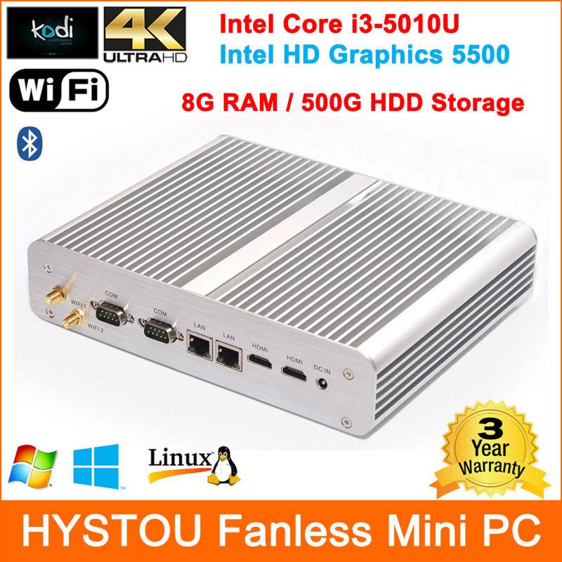 New designer Intel Core i3-5010U 8G RAM 500G HDD HD 5500 fanless mini pc windows Dual HDMI 4K usb led bluetooth(China (Mainland))