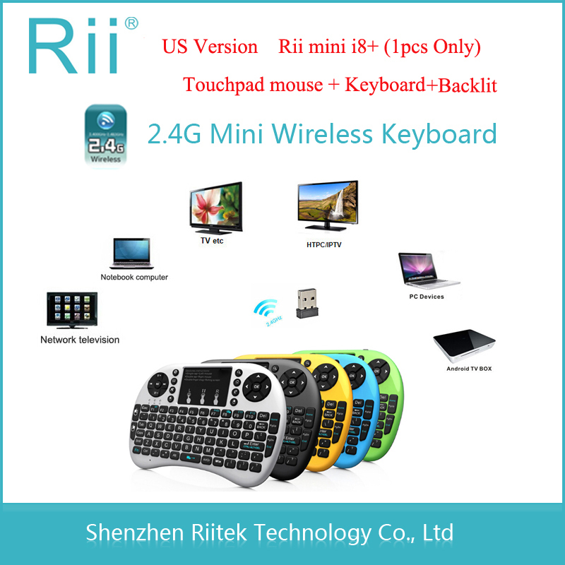 Free shipping 2.4Ghz Rii mini i8+ Wireless keyboard with Touchpad mouse Backlit Handheld Keybord for PC Notebook Tablet HTPC(China (Mainland))