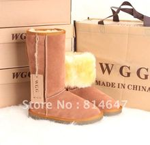 Wgg 5815 full grain leather winter long wool warm snow boot35-40 europ size,ladies fahion designer warm woll snow boot(China (Mainland))