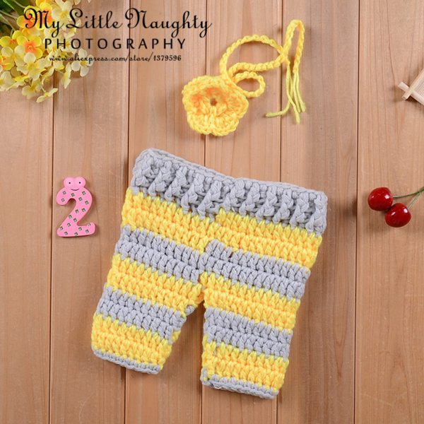 New arrival newborn baby yellow flral headwear and striped pants 0-3 month infant high quality knitting photo shoot outfits(China (Mainland))