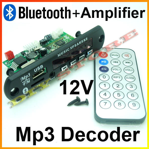 New 12V Car Handsfree Bluetooth MP3 decode board with Bluetooth module and build in 2*3 amplifier board+free shipping-10000657(China (Mainland))
