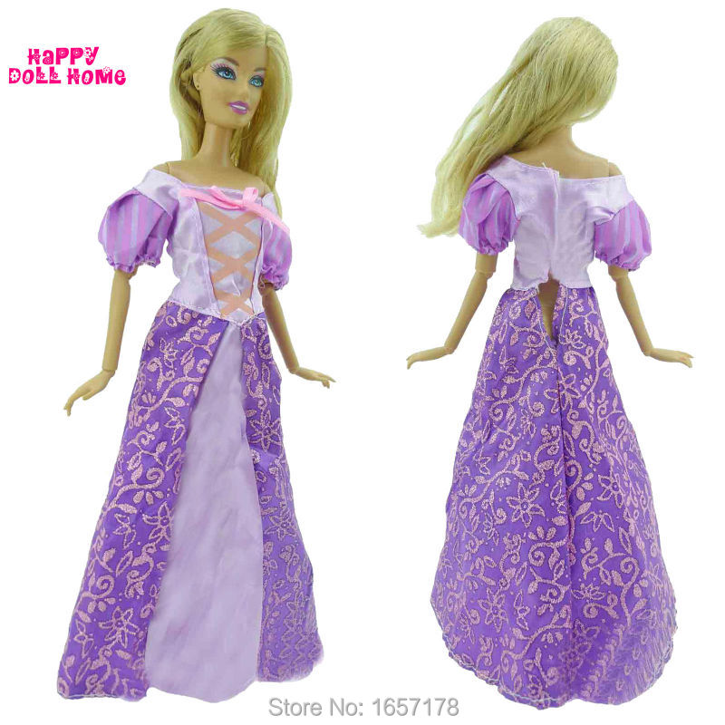 Princess Wedding Dress Fairy Tale Gown Copy Rapunzel Clothes Purple Outfit For Barbie Doll Kurhn 11.5″ 12″  Pretend Play Gift