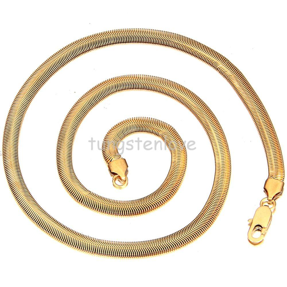 23 Inch Fashion Men Jewelry 316L Stainless Steel Chunky Gold Chain Necklace Mens Snake Chain Link Necklaces(China (Mainland))