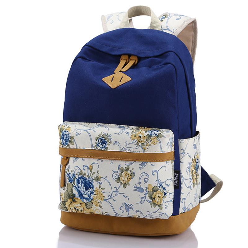 Brand Genuine Quality Floral Leather Canvas Bag Backpack School for Teenager Girl Laptop Bag Printing Backpack
