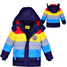 Baby Winter Children outerwear Kids clothes hooded down coat girls boys coat striped baby clothing jackets for boys girls(China (Mainland))