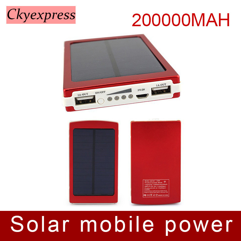 Solar Power Panel 200000mah dual usb ports solar portable charger External Backup Battery Pack for iPhone iPad for mobile phones(China (Mainland))