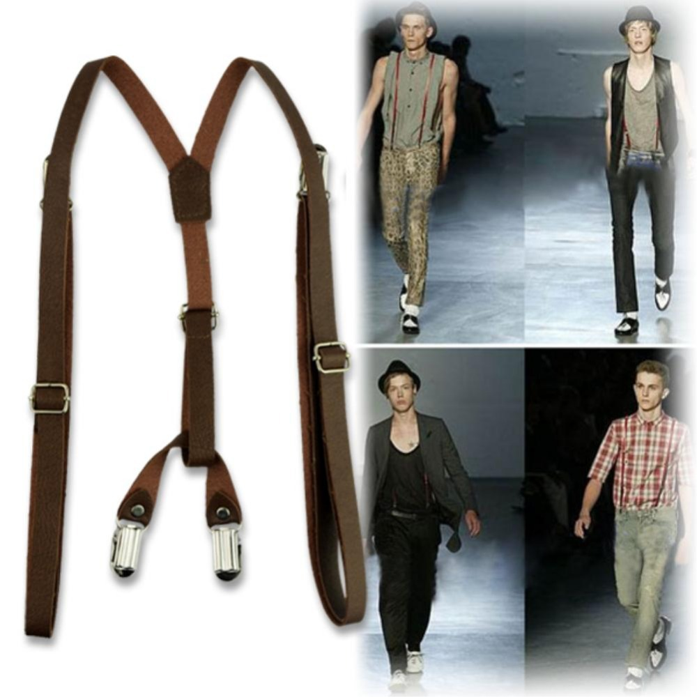 Adjustable Braces Unisex Adult Suspenders Clip On Tirantes Hombre Leather Pants Y shaped Braces Suspenders 3